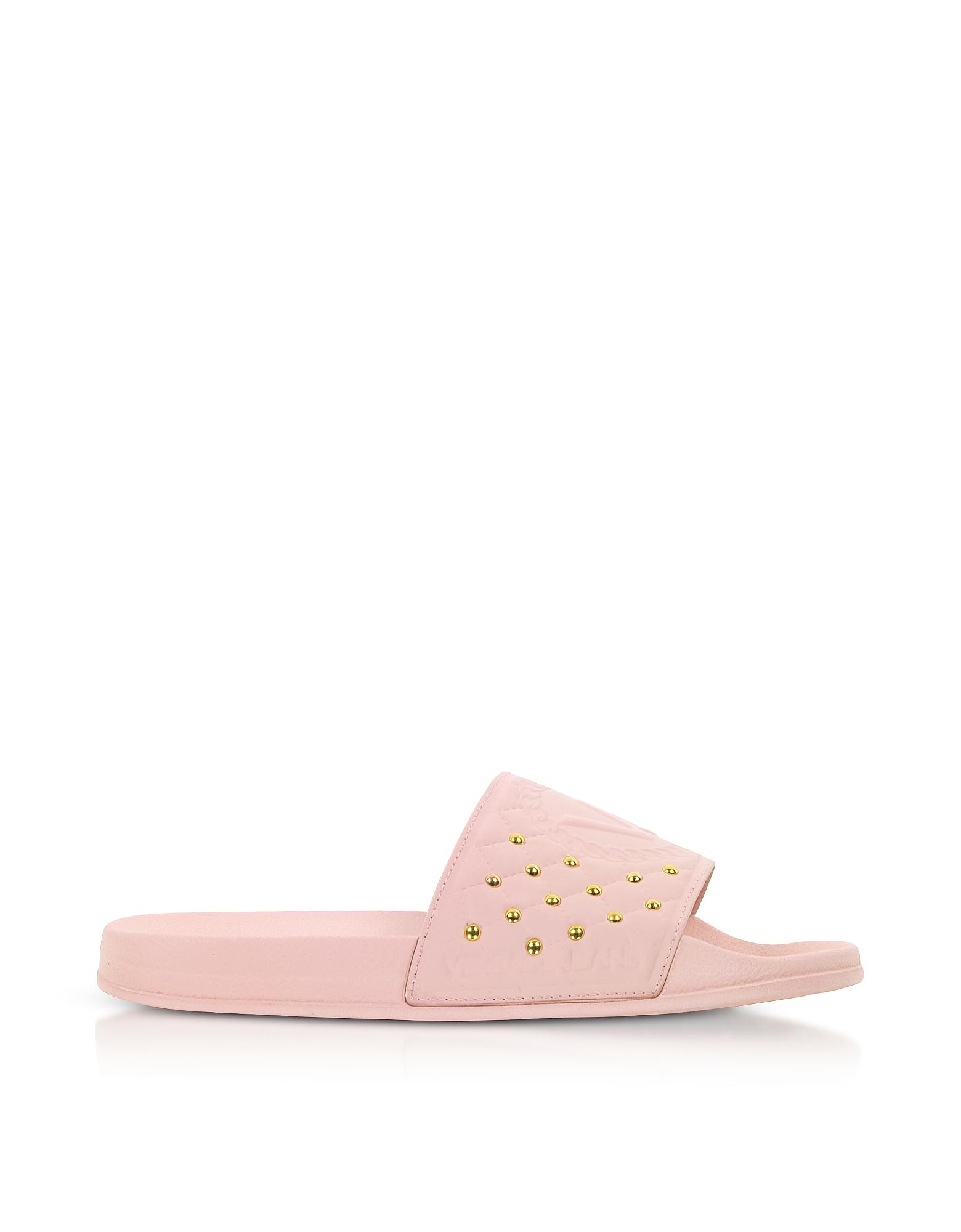 Versace Jeans Designer Shoes, Pink Rubber Slides w/Golden Studs