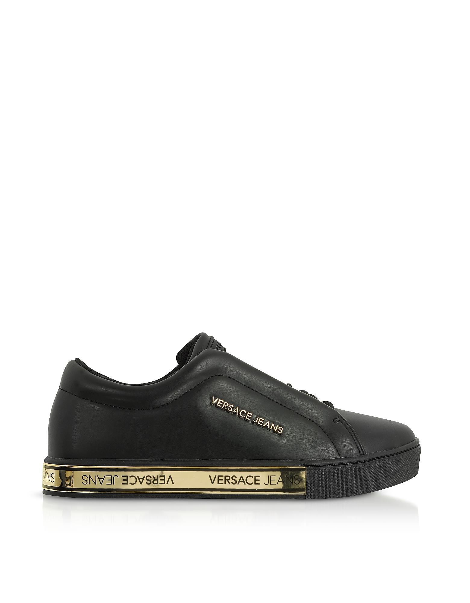 Versace Jeans Designer Shoes, Kim Black Flat Women's Sneakers