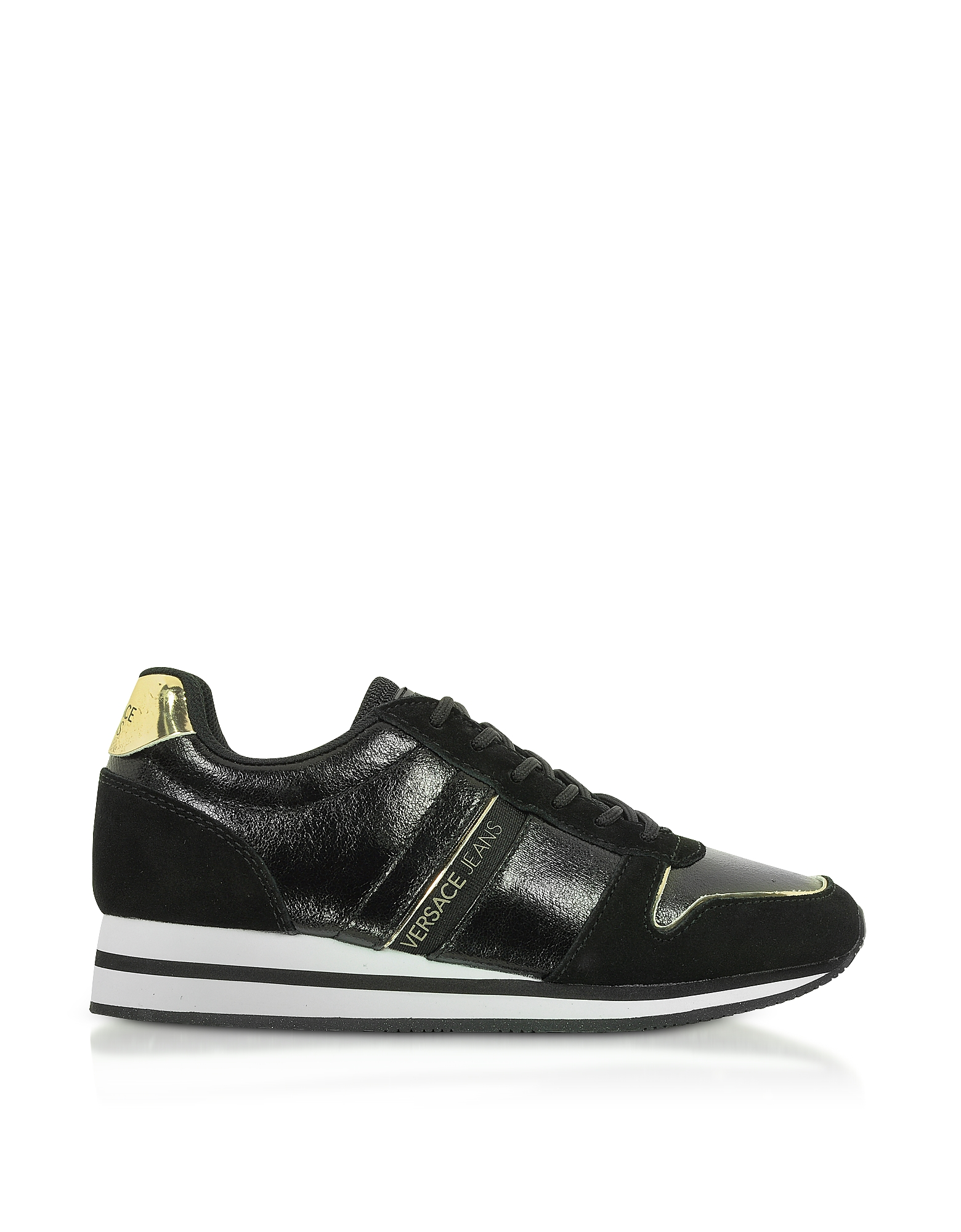 Versace Jeans Designer Shoes, Stella Black Coated Canvas & Suede Sneakers