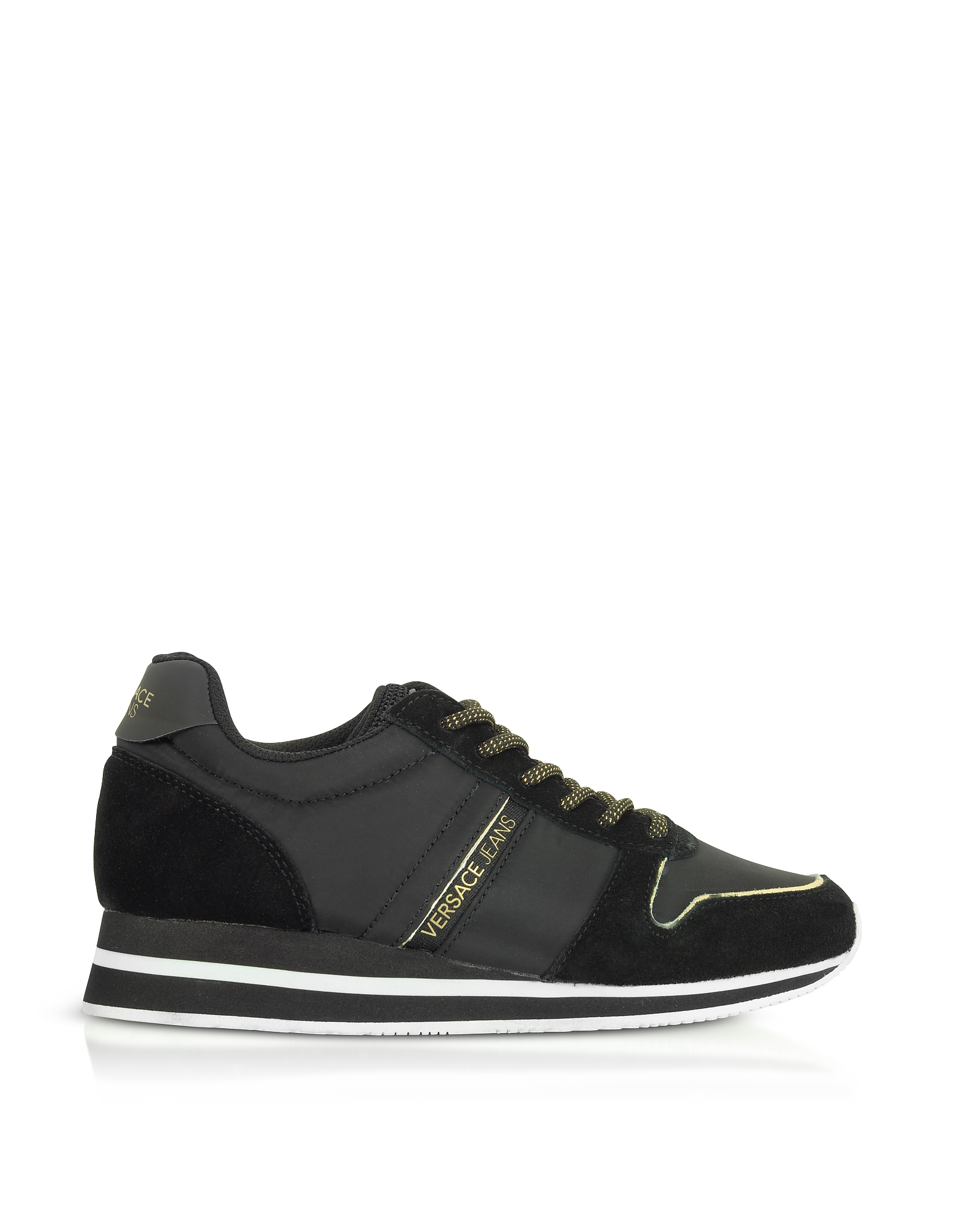 Versace Jeans Designer Shoes, Stella Black Nylon & Suede Women's Sneakers