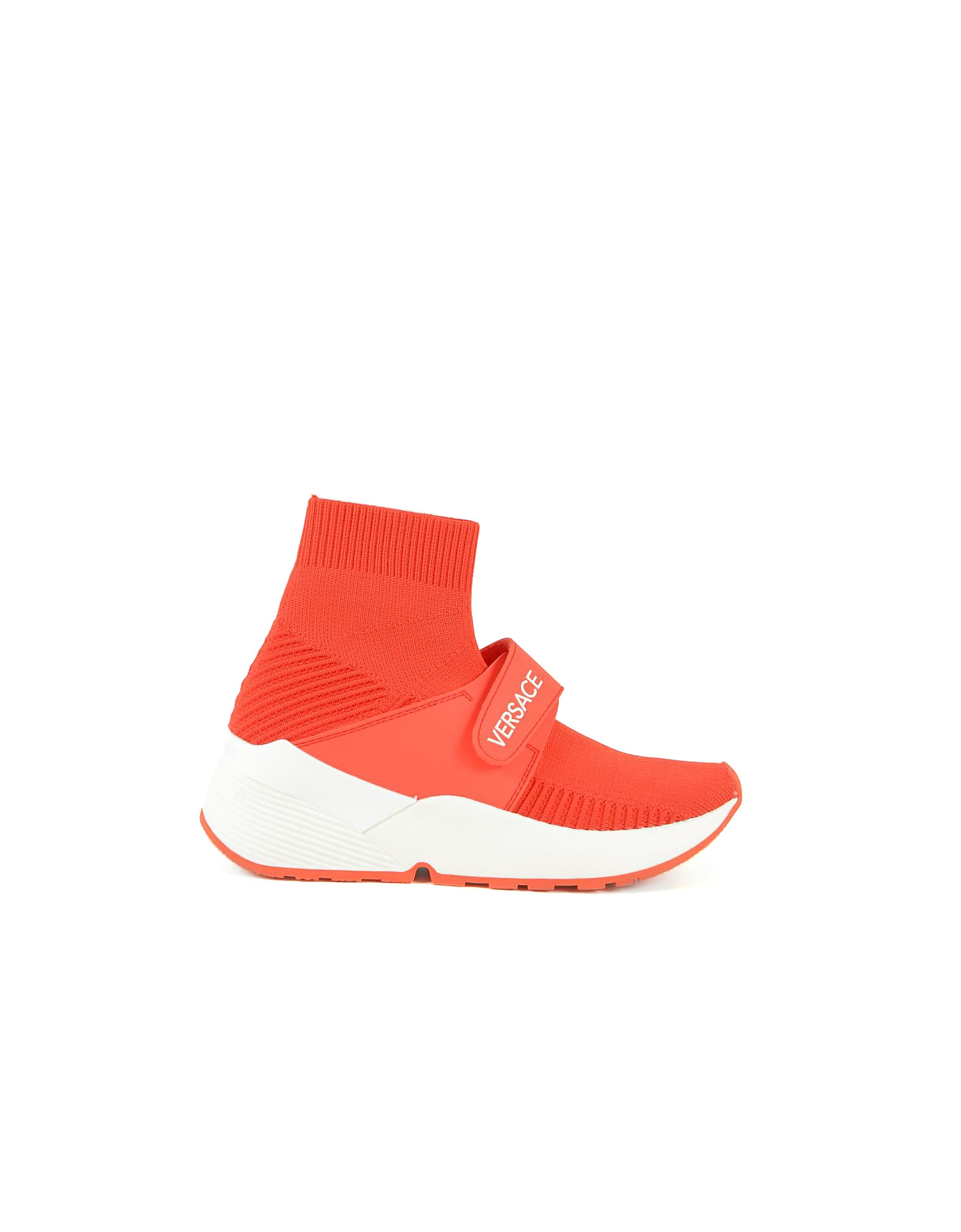 Versace Jeans Designer Shoes, Red Flyknit High Running Sock Sneakers