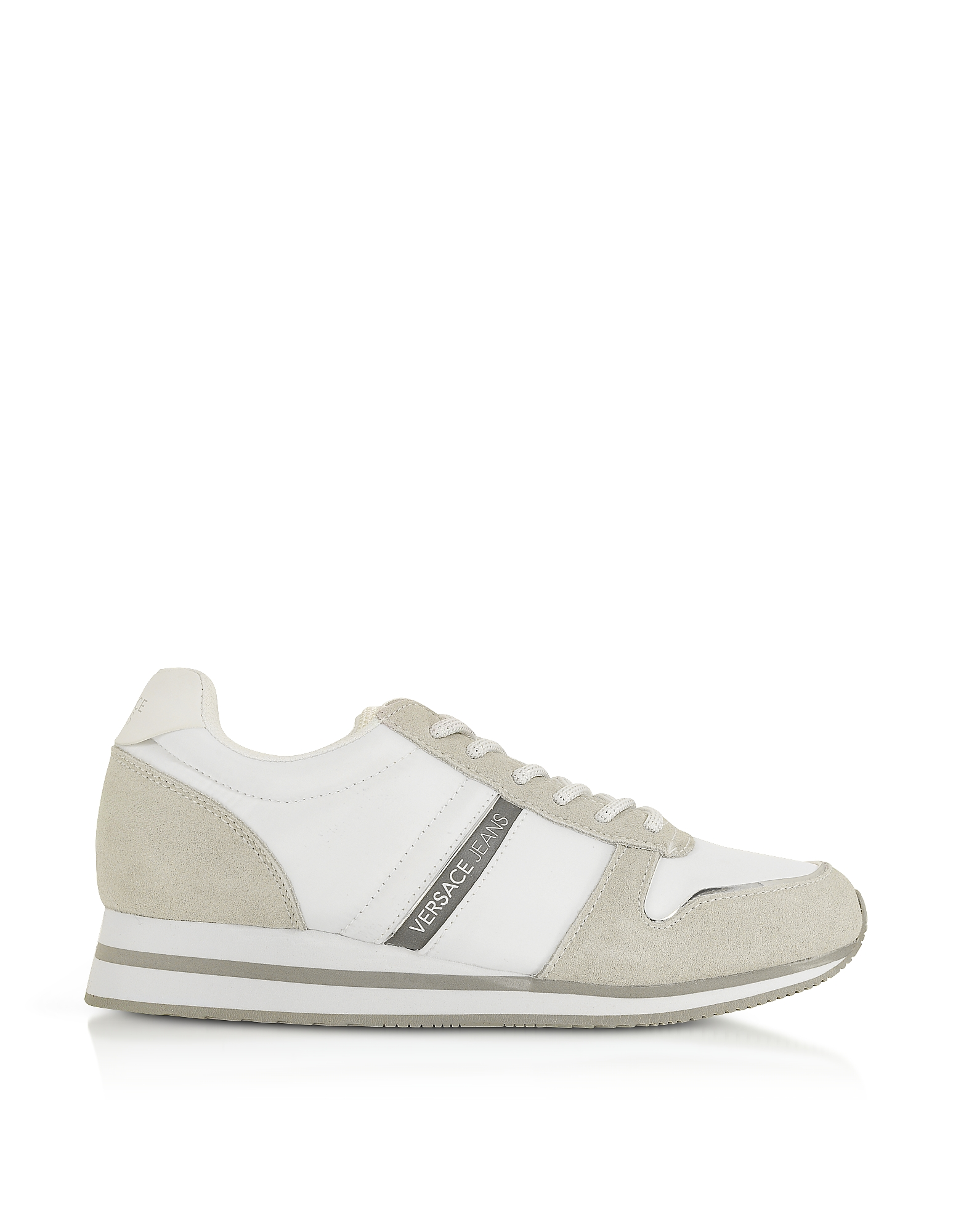 Versace Jeans Designer Shoes, Stella White Nylon and Suede Women's Sneakers