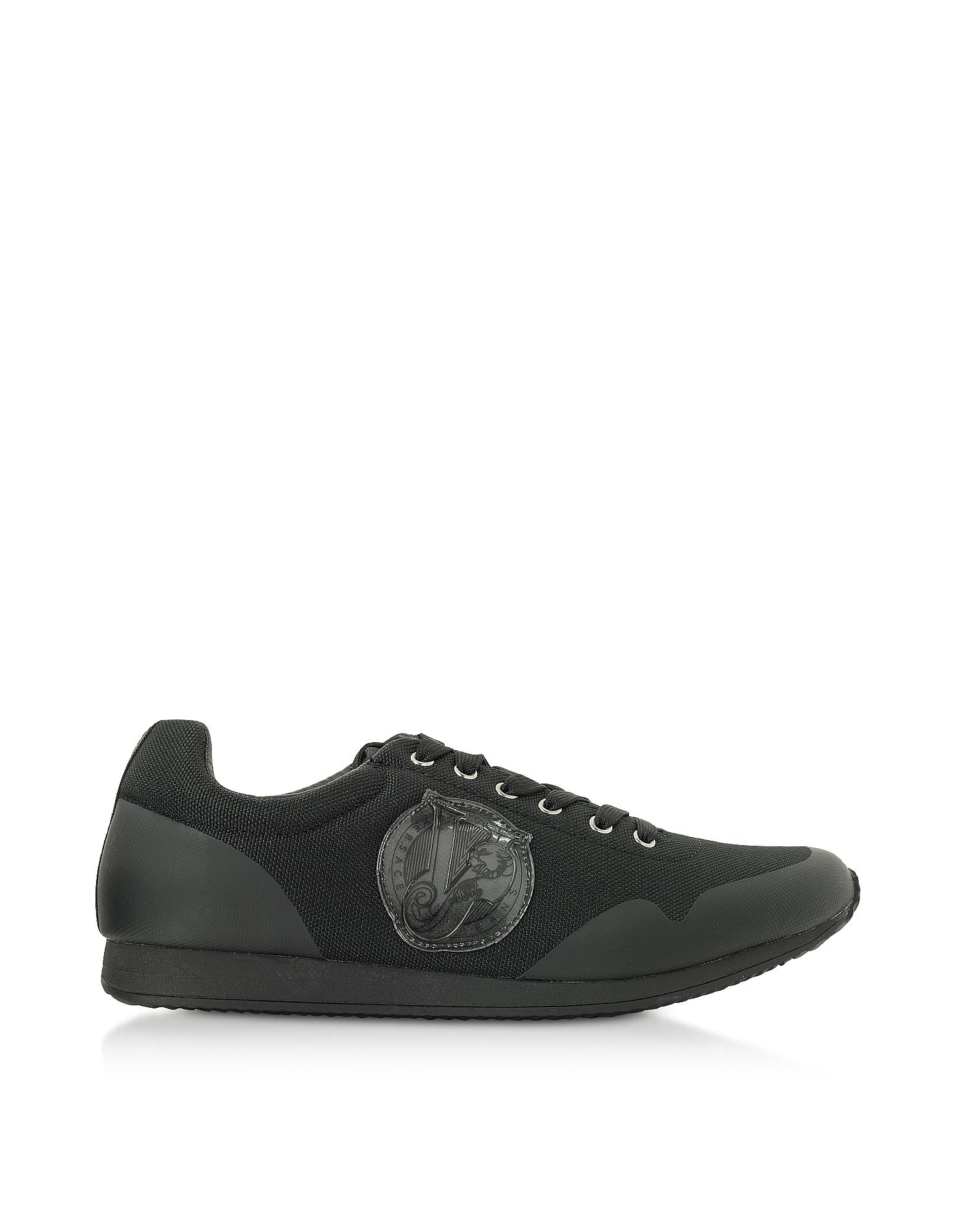 Versace Jeans Designer Shoes, Black Coated Nylon Men's Running Sneakers