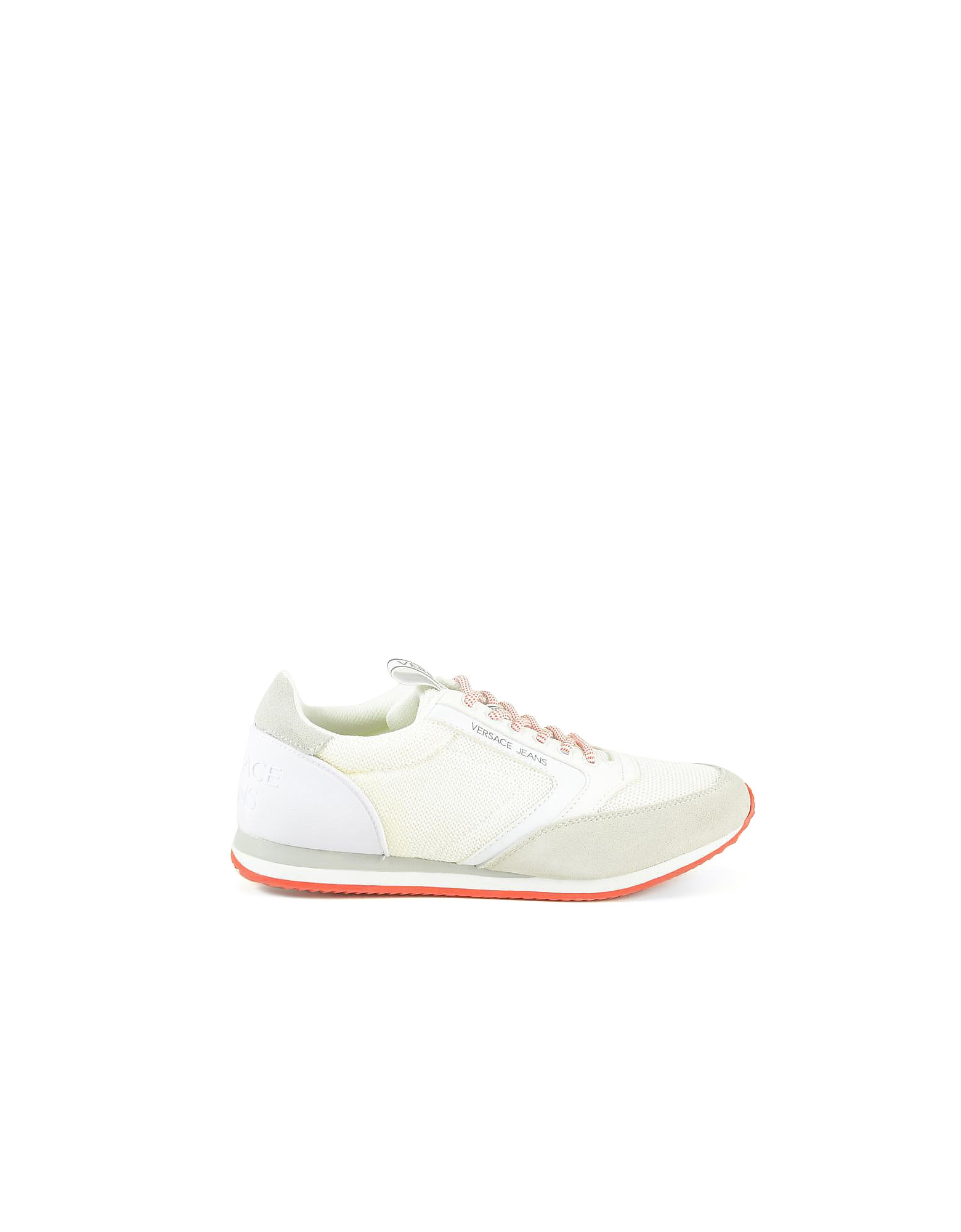 Versace Jeans Designer Shoes, New Running White Mesh and Suede Men's Sneakers