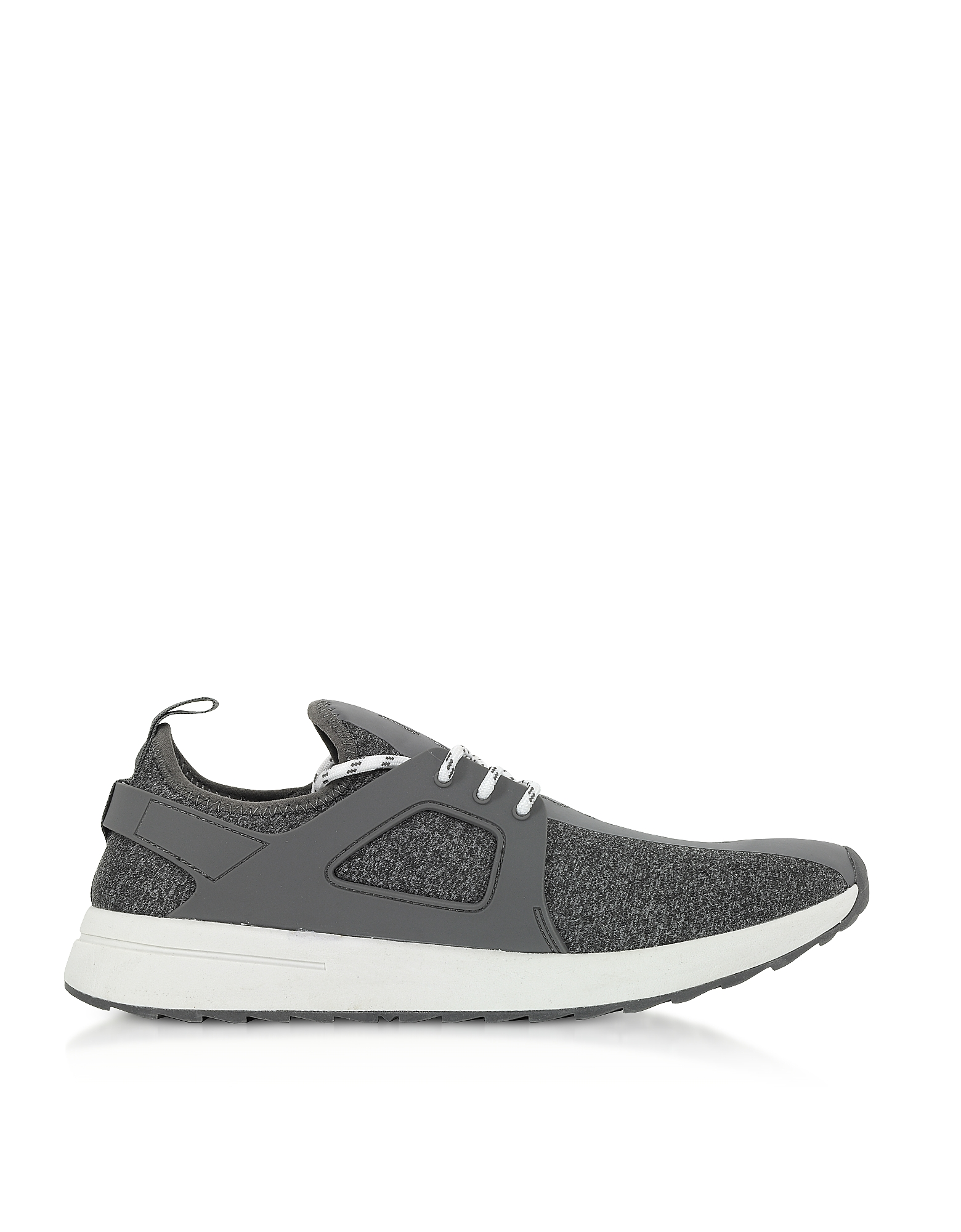 Versace Jeans Designer Shoes, Grey Knitted Jersey Signature Men's Sneakers