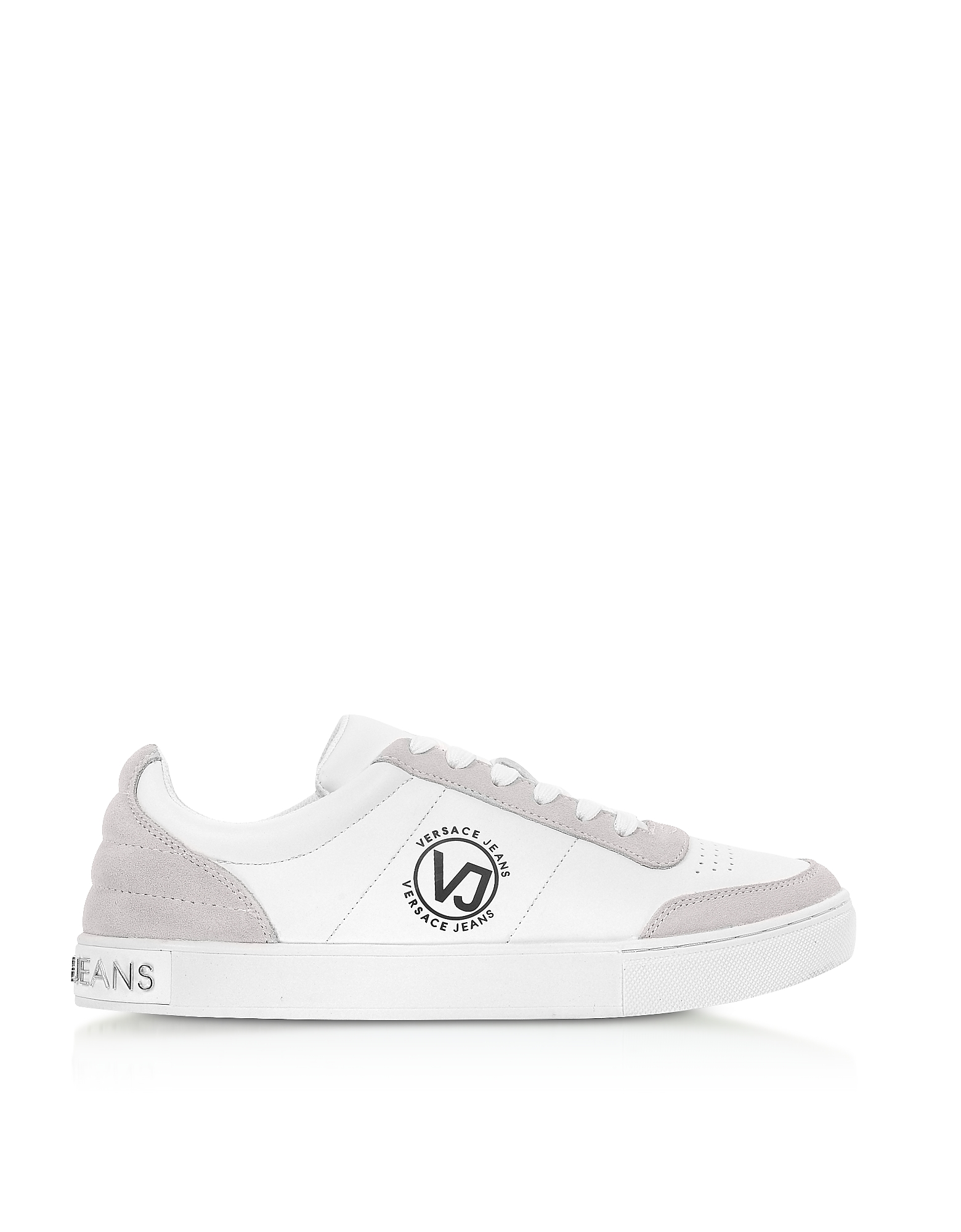 Versace Jeans Designer Shoes, White Leather & Suede Signature Sneakers