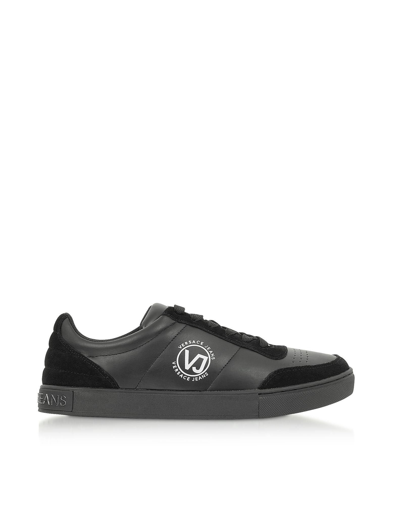 Versace Jeans Designer Shoes, Black Leather & Suede Signture Men's Sneakers