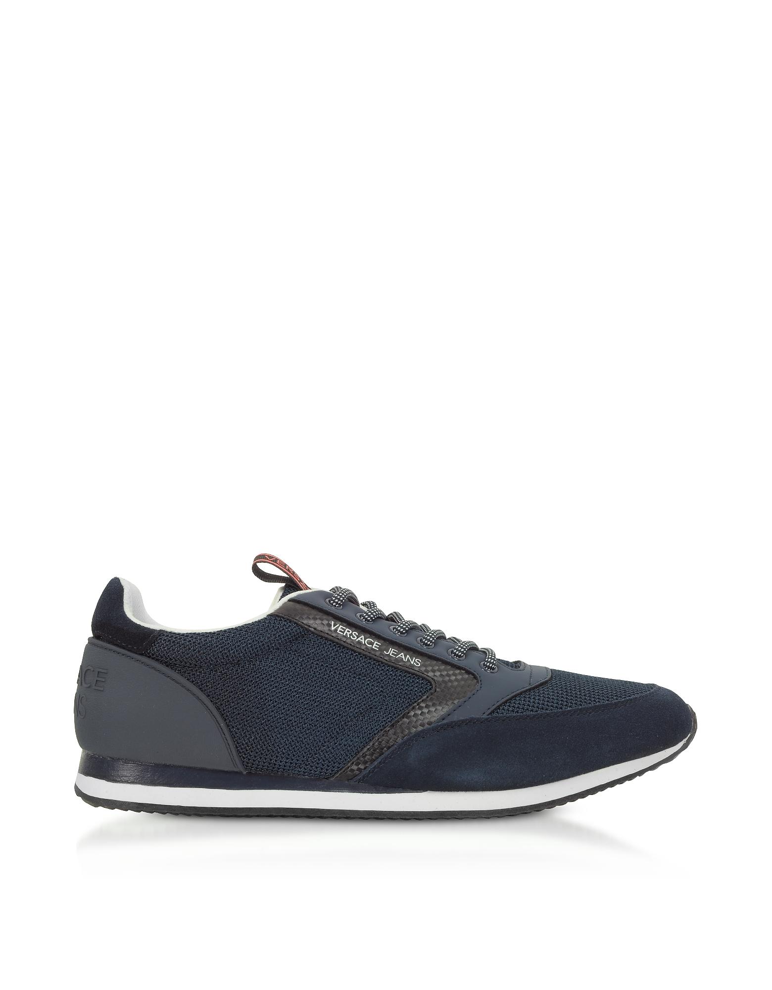 Versace Jeans Designer Shoes, New Running Navy Blue Mesh & Suede Men's Sneakers
