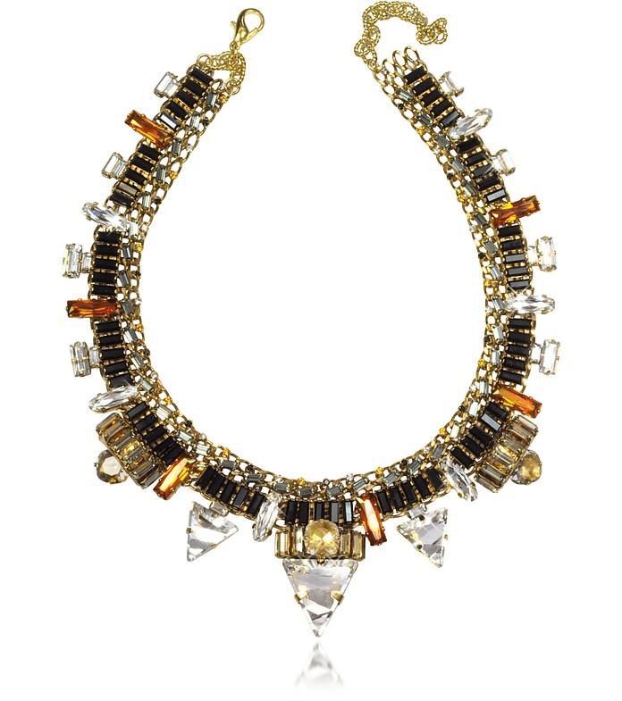Xenon Golden Crystal Necklace  - Erickson Beamon