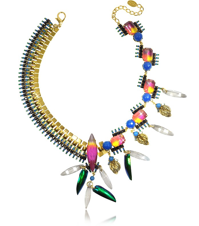 Aquarela do Brasil Golden Crystals Necklace - Erickson Beamon
