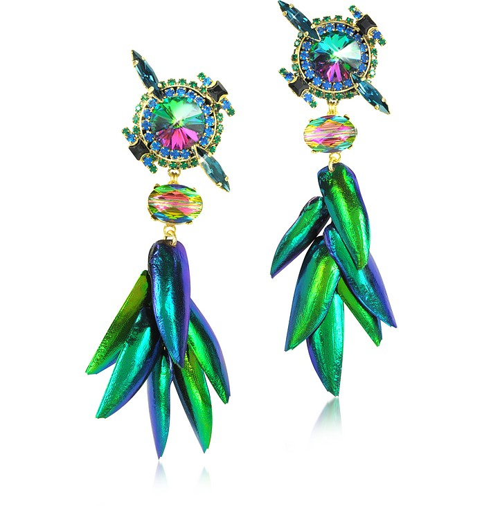 Aquarela do Brasil Crystals Clip On Earrings - Erickson Beamon