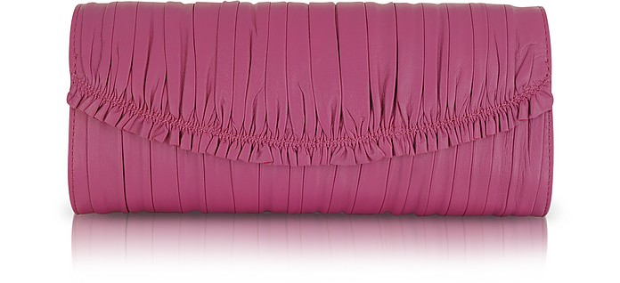 Patricia - Purple Pleated Leather Clutch - Elie Tahari