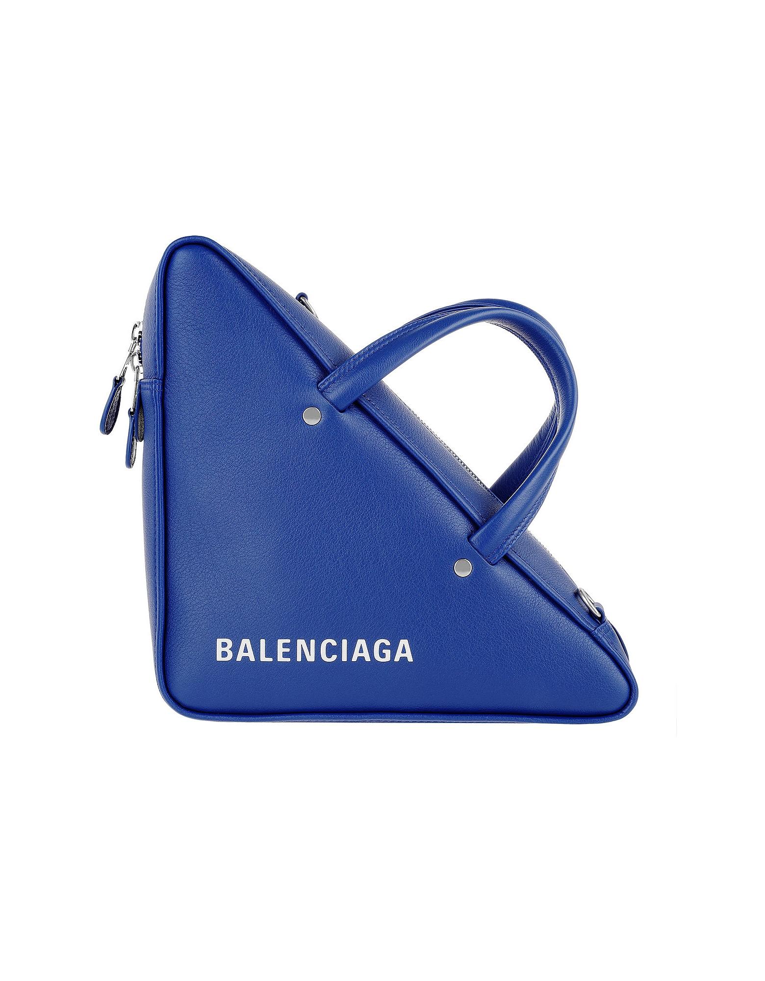 Balenciaga Handbags, Triangle Shoulder Bag Leather Blue