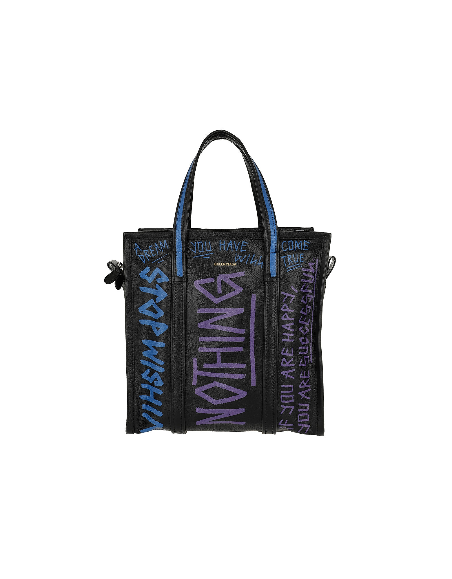 Balenciaga Handbags, Graffiti Bazar Shopper Tote Bag Leather Black/Blue