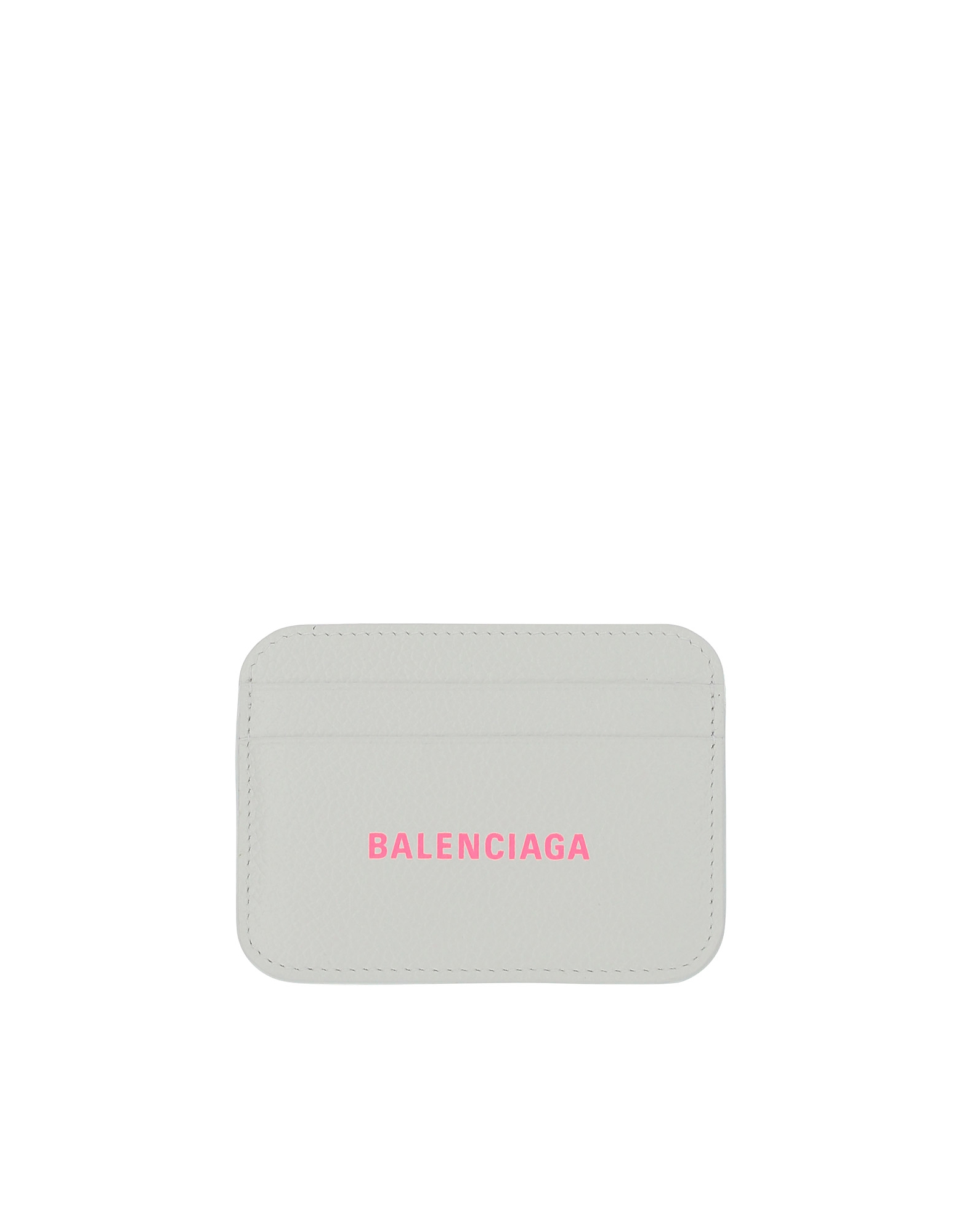 Balenciaga Designer Wallets, White Leather Signature Card Holder