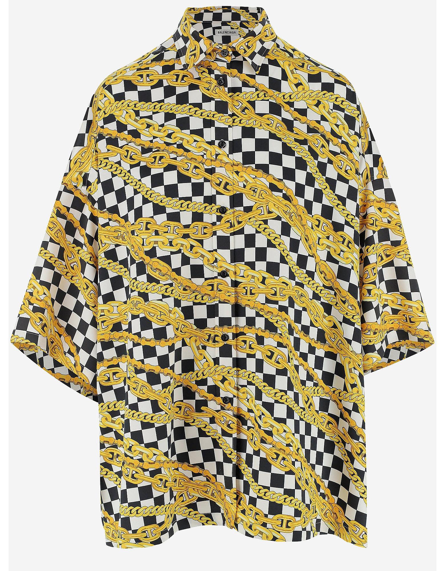 Balenciaga Designer Shirts, Balck and White Satin Women's Shirt w/Chain Print