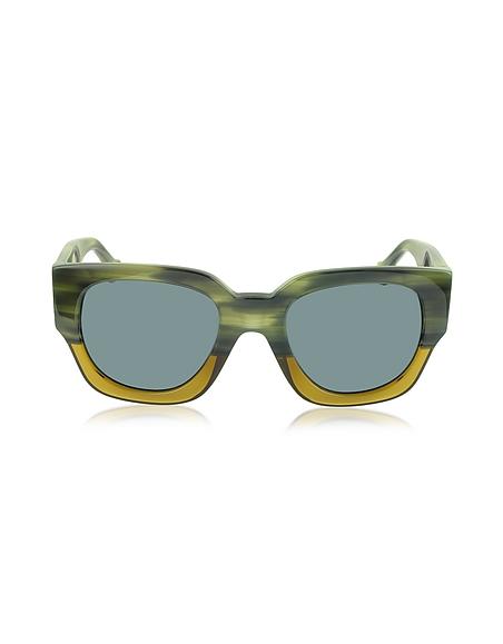 Balenciaga BA0011 65V Damen-Sonnenbrille aus Acetat in grün gelb