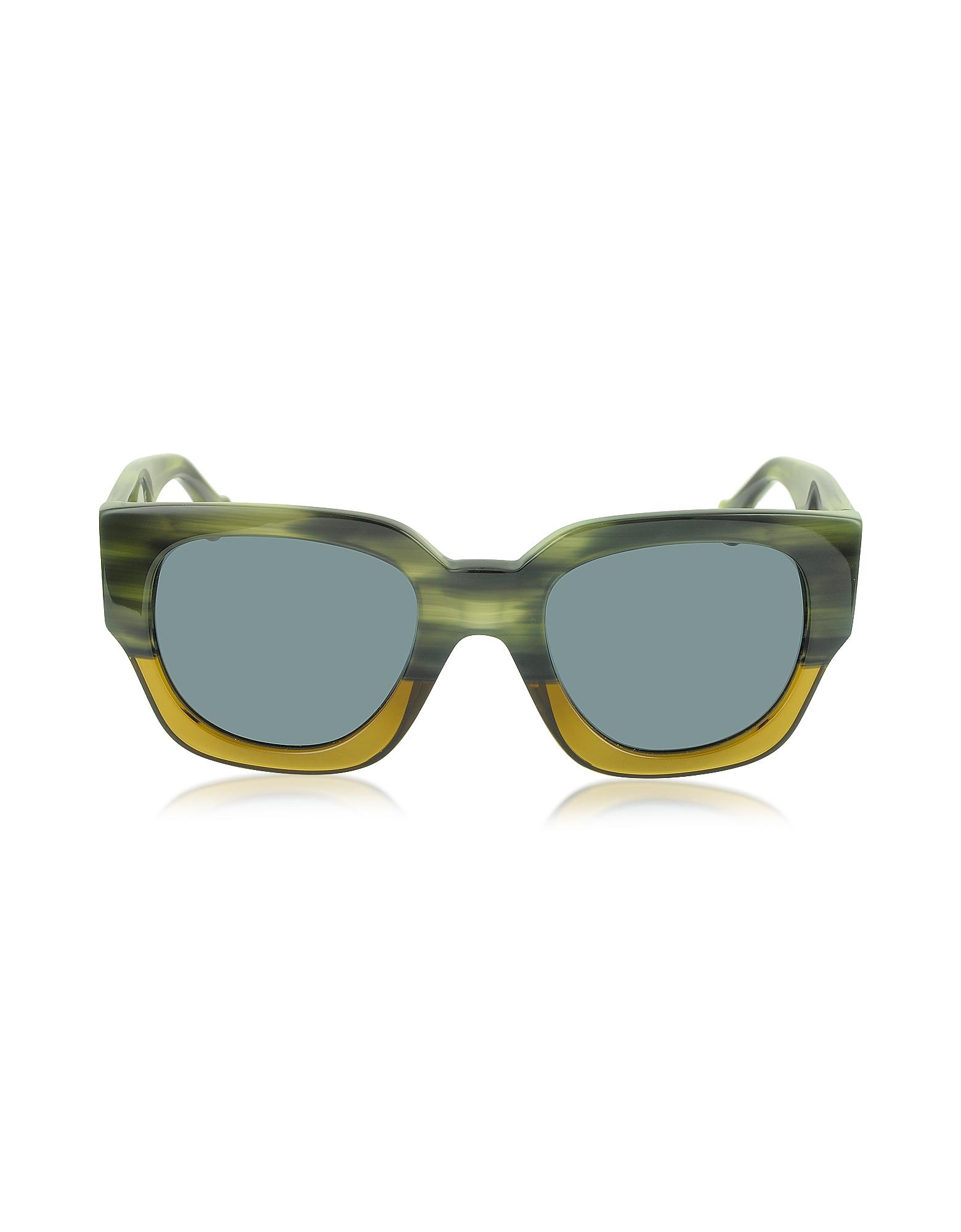 BA0011 65V - Женские Солнечные Очки в Зелено-Желтой Оправе из Ацетата