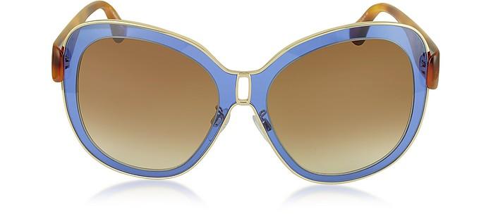 BA0003 55B Blue Acetate & Gold Metal Women's Sunglasses - Balenciaga