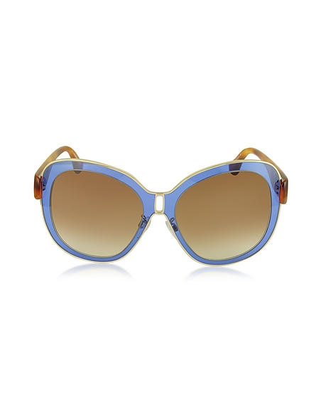 Balenciaga BA0003 55B Damen-Sonnenbrille aus Acetat in blau gold