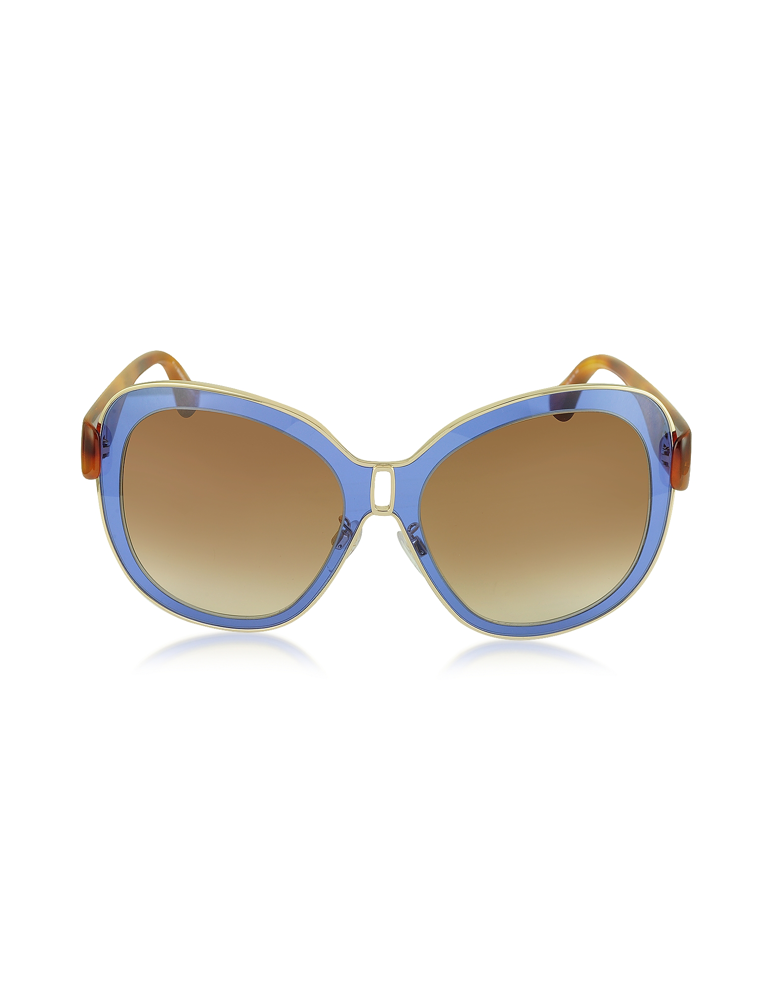 Balenciaga Sunglasses, BA0003 55B Blue Acetate & Gold Metal Women's Sunglasses