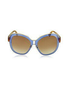 BA0003 55B Blue Acetate & Gold Metal Women's Sunglasses - Balenciaga