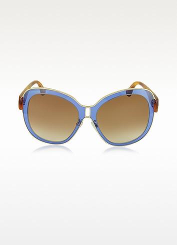 Balenciaga BA0003 55B - Женские Солнечные Очки в Оправе из Золотистого Металла и Синего Ацетата