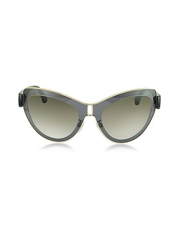 Balenciaga - BA0001 01F Grey Acetate & Gold Metal Cat Eye Sunglasses