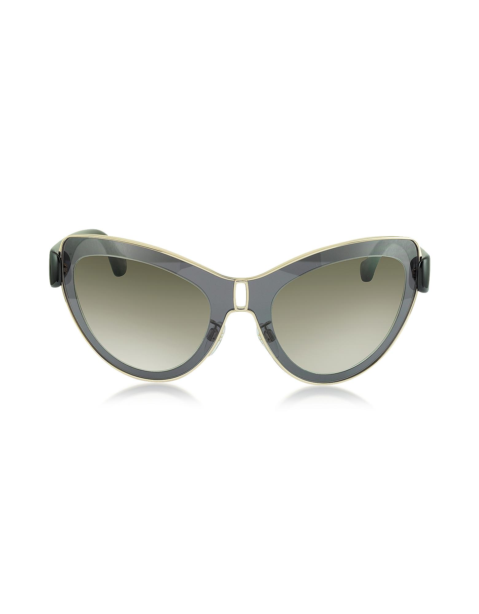 Balenciaga Sunglasses, BA0001 01F Grey Acetate & Gold Metal Cat Eye Sunglasses