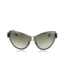 BA0001 01F Grey Acetate & Gold Metal Cat Eye Sunglasses - Balenciaga