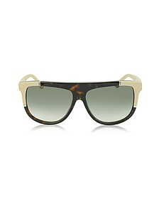 BA0025 Acetate Shield Women's Sunglasses w/Rubber Details - Balenciaga