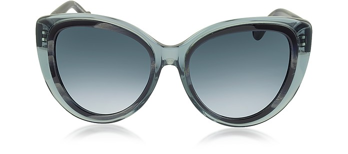 BA0026 92W Transparent Grey & Dark Grey Horn Acetate Cat Eye Sunglasses - Balenciaga