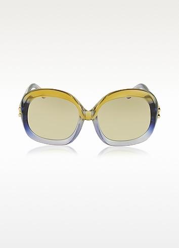 BA0008 41F Lilac & Dark Yellow Oversized Women's Sunglasses - Balenciaga