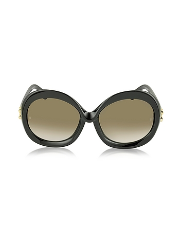 Balenciaga - BA0007 01F Black Round Acetate Women's Sunglasses