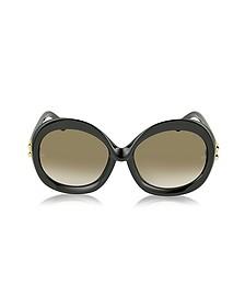 BA0007 01F Black Round Acetate Women's Sunglasses - Balenciaga