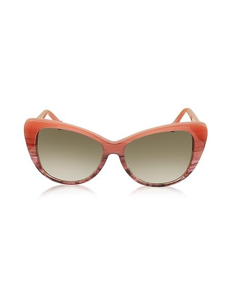 Balenciaga BA0016 44F Damen-Sonnenbrille mit Streifen und Cat Eye