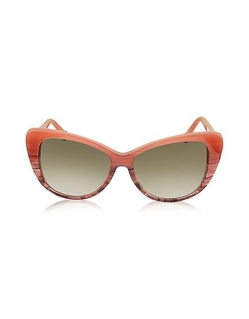 Balenciaga - BA0016 44F Coral Striped Burgundy Cat Eye Women's Sunglasses