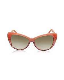 BA0016 44F Coral Striped Burgundy Cat Eye Women's Sunglasses - Balenciaga