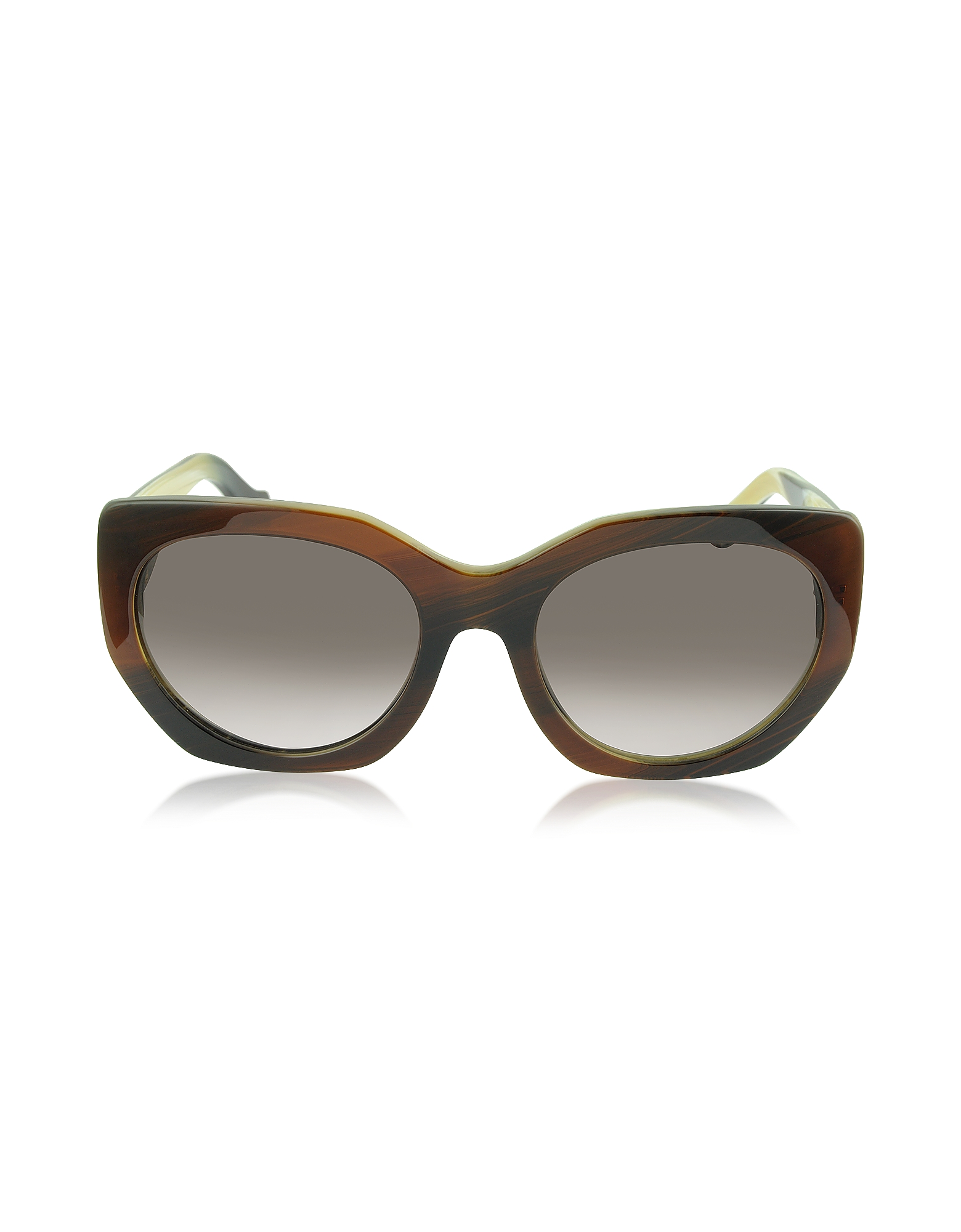 Balenciaga Sunglasses, BA0017 47T Brown Horn Acetate Cat Eye Sunglasses