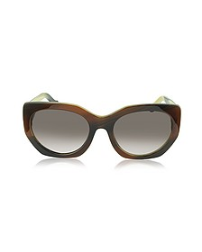 BA0017 47T Brown Horn Acetate Cat Eye Sunglasses - Balenciaga