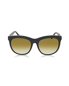 BA0024 04F Black Rubber & Acetate Cat Eye Sunglasses - Balenciaga