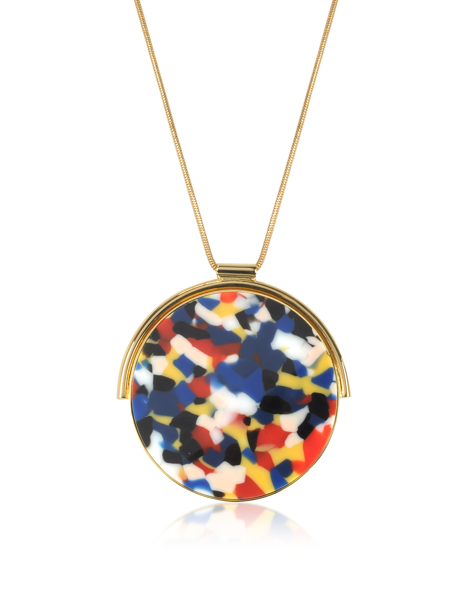 Arlequin Golden Brass Long Necklace w/Multicolor Round Pendant