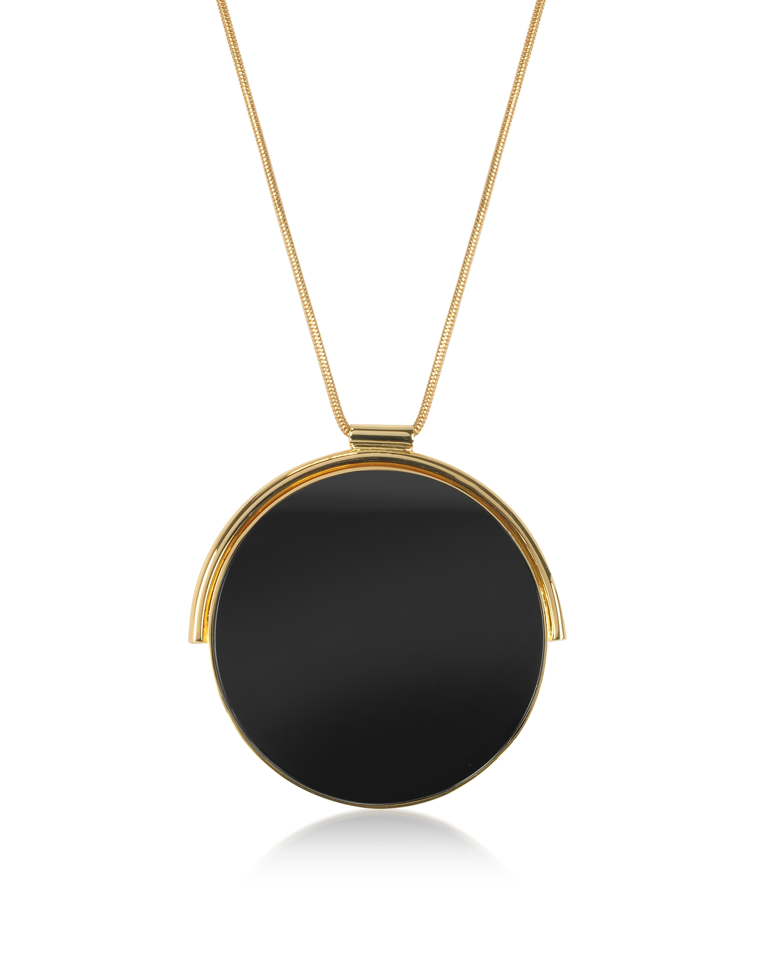 Egotique Necklaces, Arlequin Golden Brass Long Necklace w/Black Round Pendant