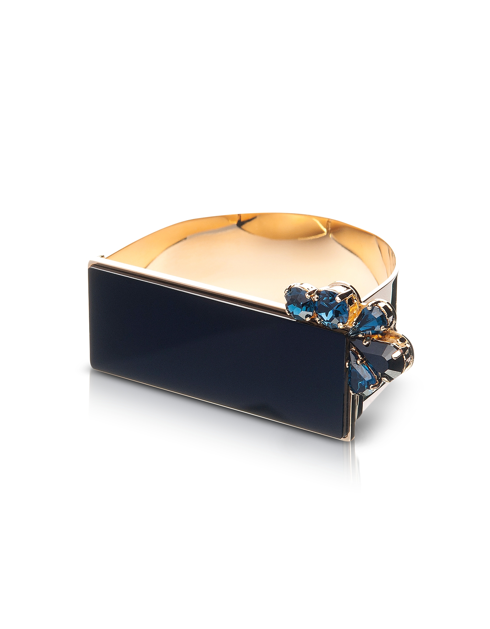 Egotique Bracelets, Arlequin Golden Brass Cuff w/Black Top and Two Tone Crystals