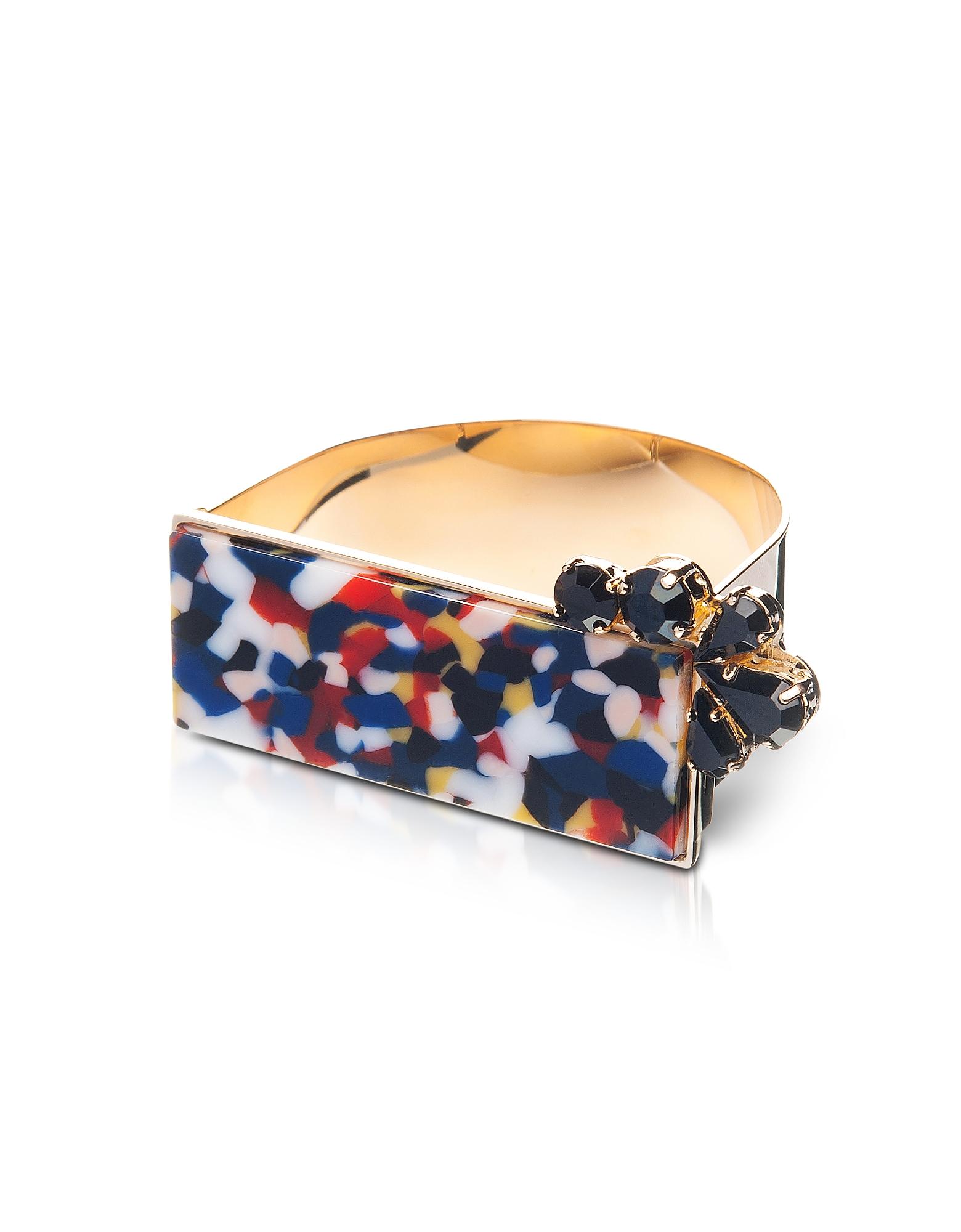 Arlequin - Золотистый Браслет Манжета из Меди с Разноцветным Верхом и Черными Кристаллами