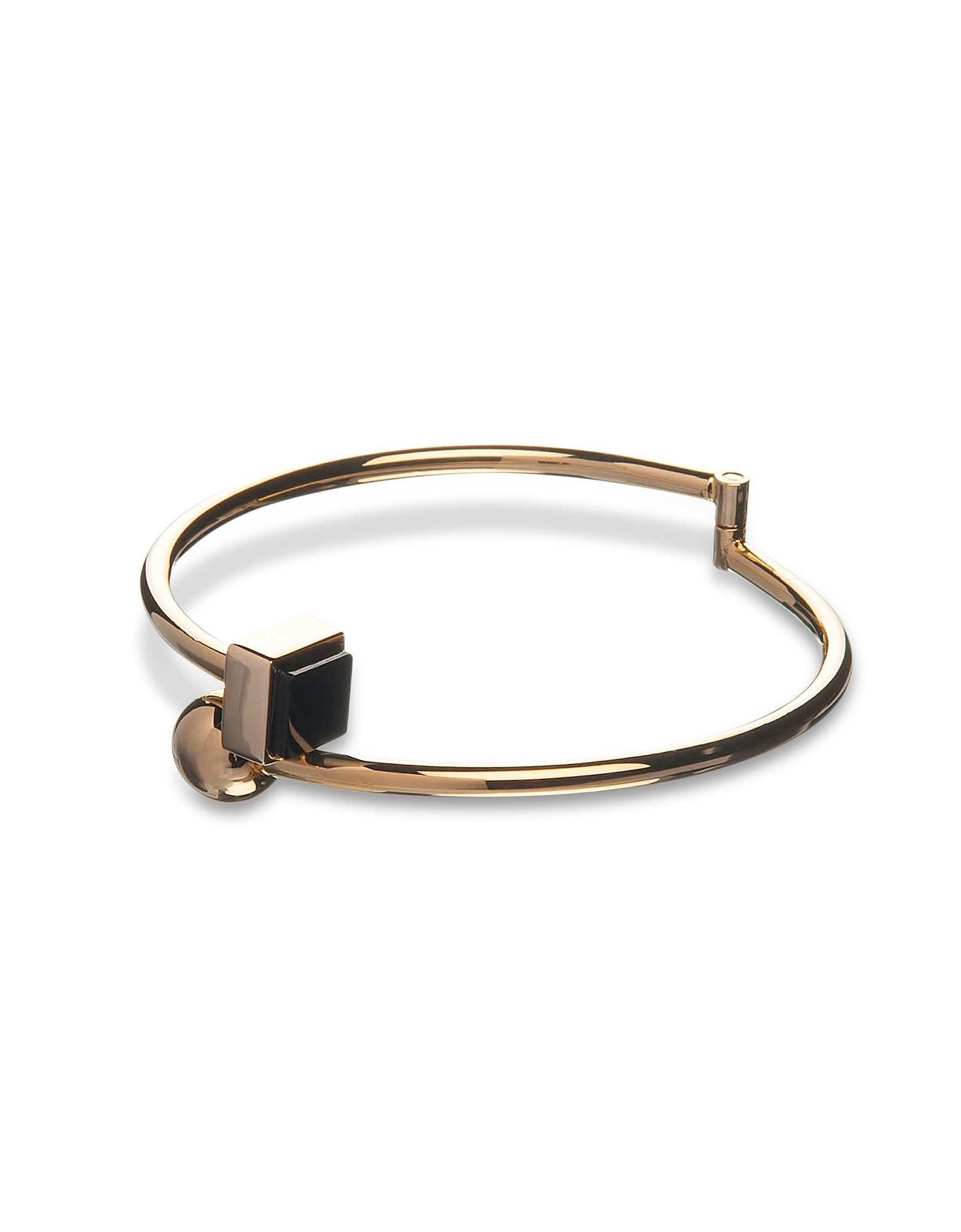 Egotique Bracelets, Arlequin Golden Brass Thin Bangle w/Black Stone