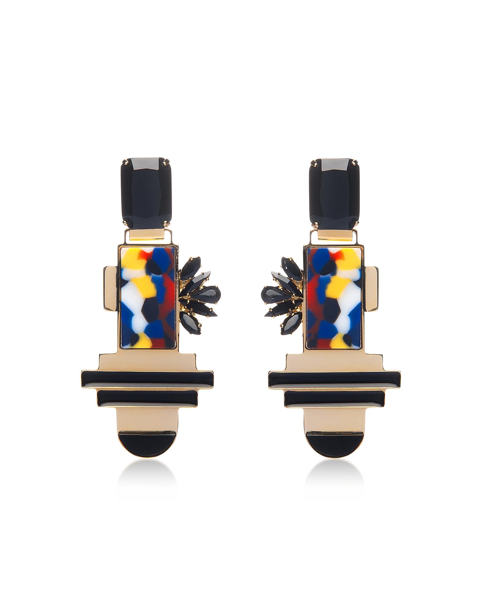 Egotique Earrings, Golden Brass Drop Earrings w/Crystals