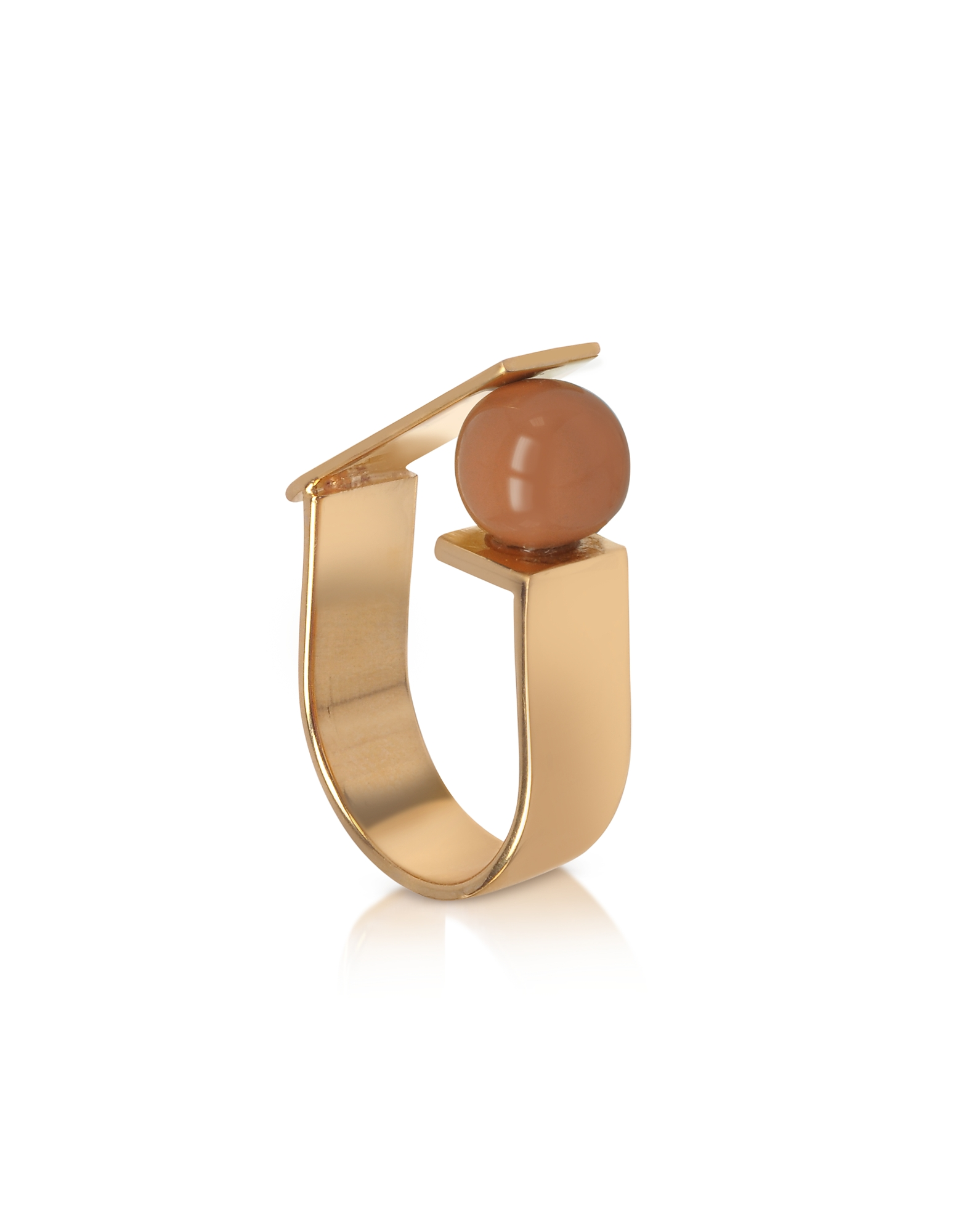Egotique Rings, Arlequin Golden Brass Ring w/Nude Glass Pearl