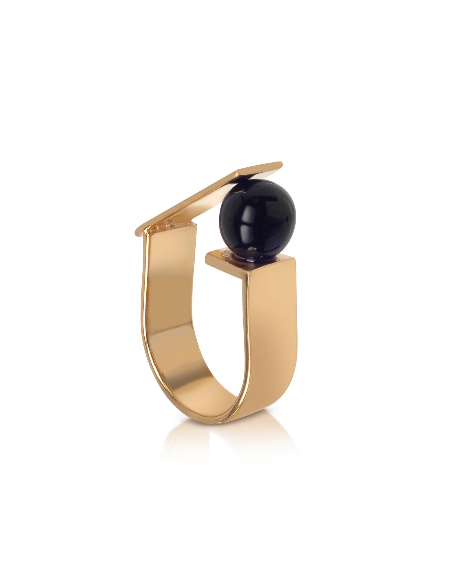 Arlequin - Кольцо из Золотистой Меди с Черной Стеклянной Жемчужиной