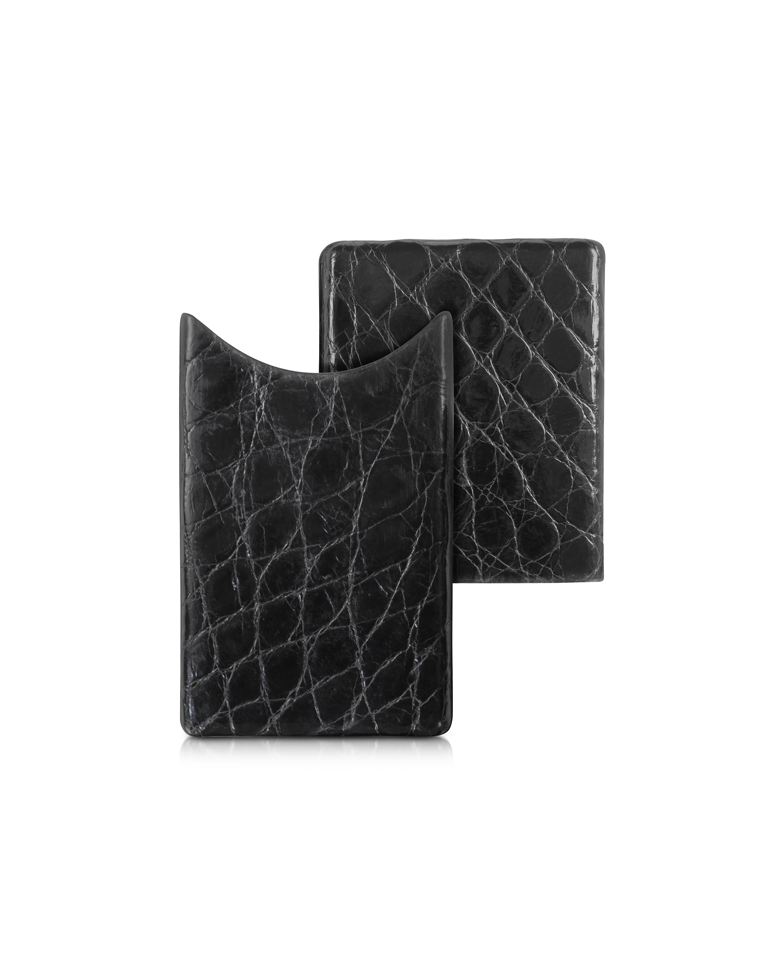 Crocodile-Embossed Leather Card Case